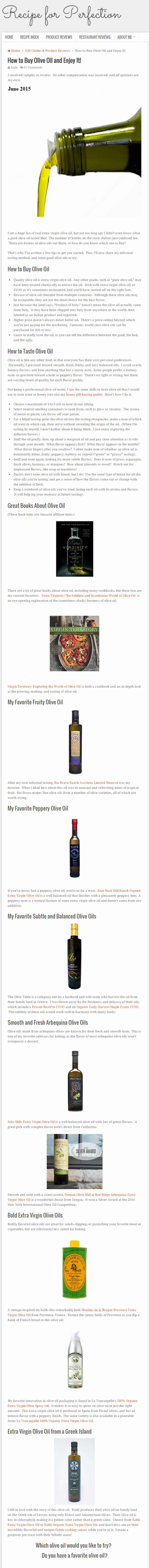 Buying Olive Oil - Recipe for Perfection - June 2015